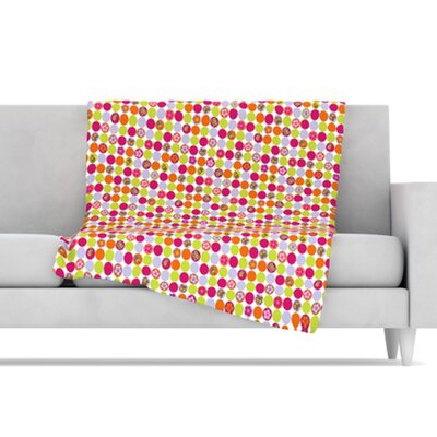 KESS InHouse Happy Circles Microfiber Fleece Throw Blanket