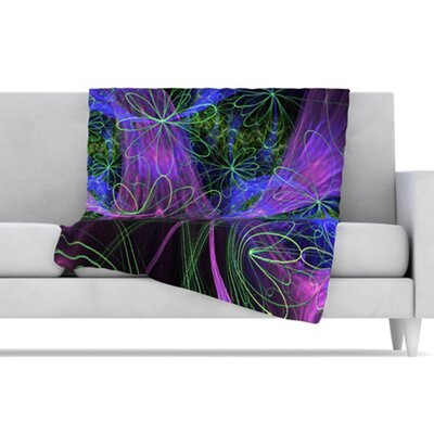 KESS InHouse Floral Garden Microfiber Fleece Throw Blanket