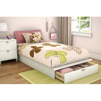 "South Shore Twin 39"" Platform Bed with Drawer in Pure White"