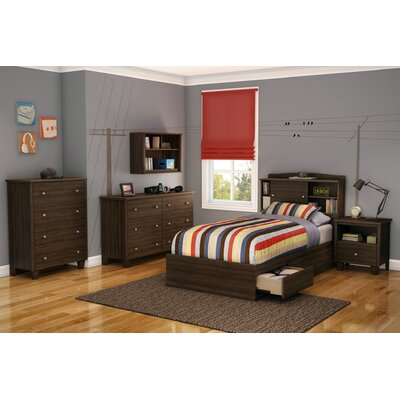 South Shore Clever Room Bookcase Headboard in Mocha