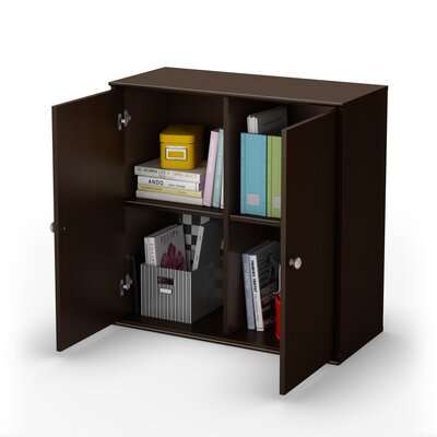South Shore Stor It Two Door Four Cubby Storage Unit in Chocolate
