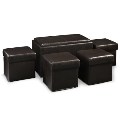 Designs4Comfort Manhattan Storage Bench with Collapsible Ottoman Set