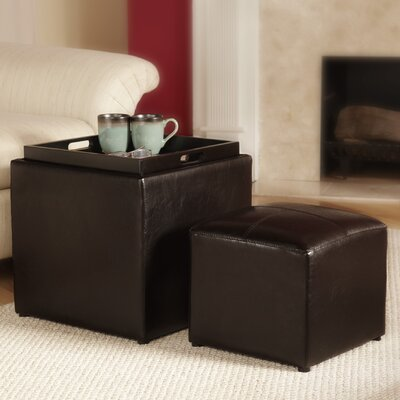 Convenience Concepts Designs4Comfort Park Avenue Cube Ottoman with Stool Set