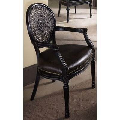 Hammary Hidden Treasures Woven Cane Back Leather Arm Chair