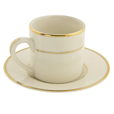 Ten Strawberry Street Cream Double Gold 3 oz. Teacup and Saucer