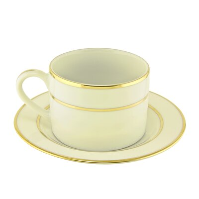 Ten Strawberry Street Cream Double Gold 6 oz. Teacup and Saucer