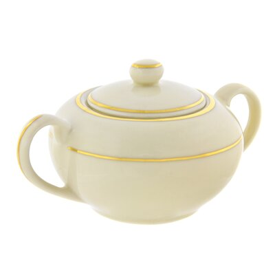 Ten Strawberry Street Cream Double Gold 8 oz. Sugar Bowl with Lid