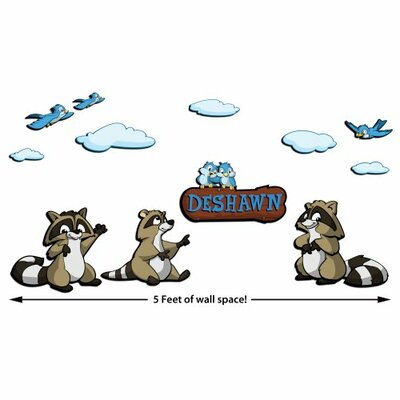 Custom Raccoon 3D Cartoon Wall Art Scene, 12-Pieces