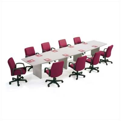 "ABCO 216"" Wide Two-Section Self Edge Boat Shape Top Conference Table with Slab Base"