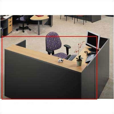 "ABCO Unity Series 72"" x 78"" Reception Desk with Matching Double Large Drawer Pedestal"