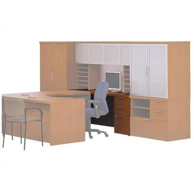 ABCO Unity Executive Single Left Pedestal Workstation / Credenza with Two Box Drawers