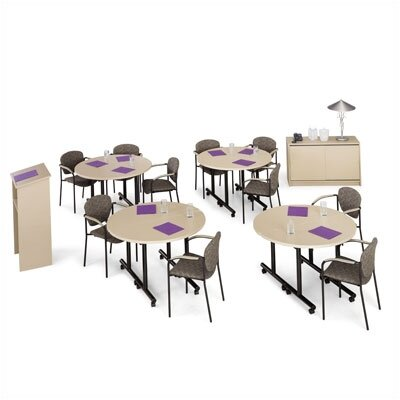 "ABCO Smart Tables: 24"" x 48"" Half Circle Kit with Lectern and Conference Credenza"