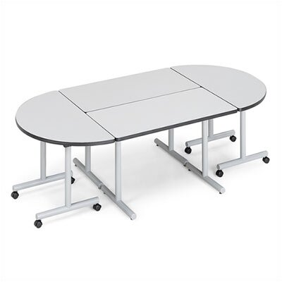 "ABCO Smart Tables: 30"" x 96"" Rectangle Thermofused Melamine Conference Table and Half Circle Kit"