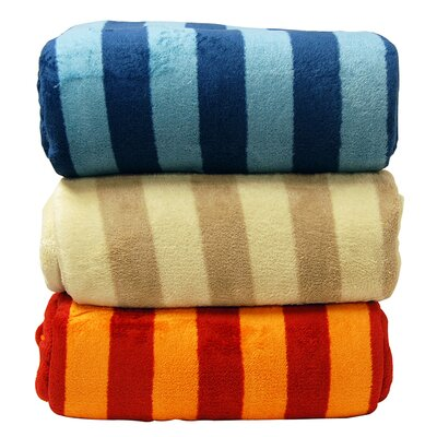 LCM Home Fashions Luxury Printed Striped Micro Plush Blanket
