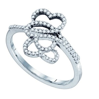 10k White Gold Micro-Pave Diamond Ring