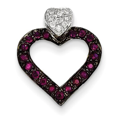 14K White Gold Heart Ruby Pendant