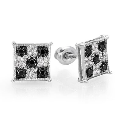 Checkered Round Cut Diamond Stud Earrings