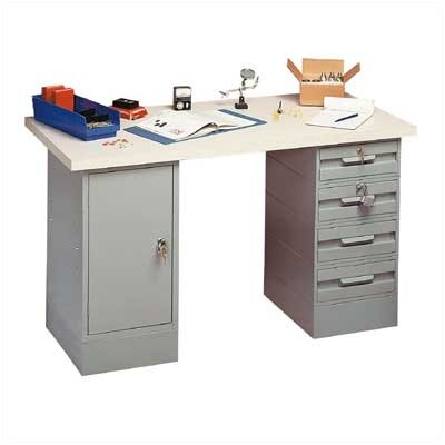 Penco Modular Work Benches - Plastic Laminate Top, 4 Drawers, 1 Cabinet