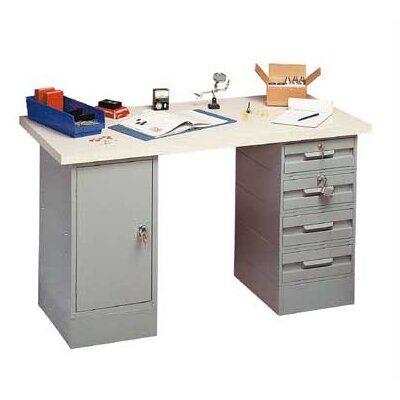 Penco Modular Work Benches - Laminated Maple Hardwood Top, 4 Drawers, 1 Cabinet