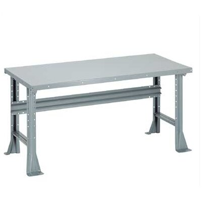 Penco Open Work Bench - Plastic Laminate Top, White Leather, Fixed Height with Shelf