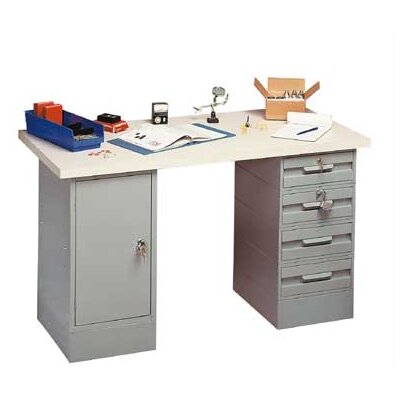 Penco Modular Work Benches - Plastic Laminate Top with White Leather, 8 Drawers
