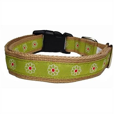 George SF Green Daisy Cotton Dog Collar