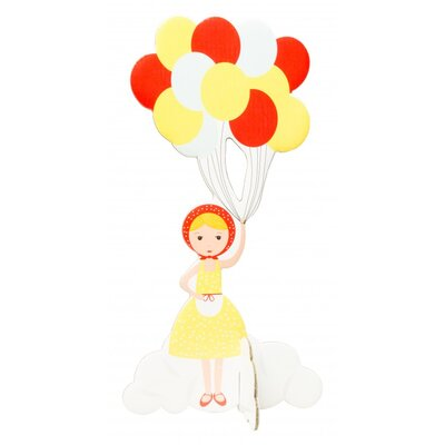 Girl with Balloons Pop Out Card