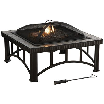 Hampton Natural Slate Fire Pit in Rubbed Bronze