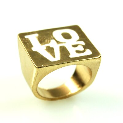 Gold Love White Ring