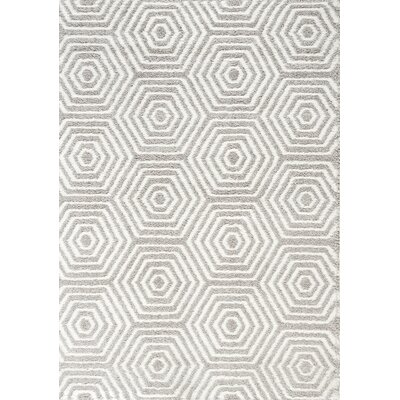 Kalora Boulevard Glitz Low Pile Light Grey / White Geometric Rug
