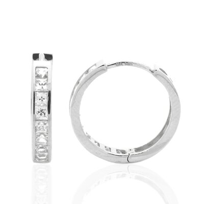 Princess Cut Cubic Zirconia Hoop Earrings
