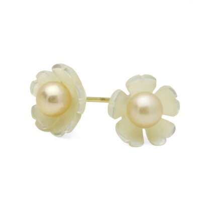 14K Flower Mother Of Pearl Stud Earrings
