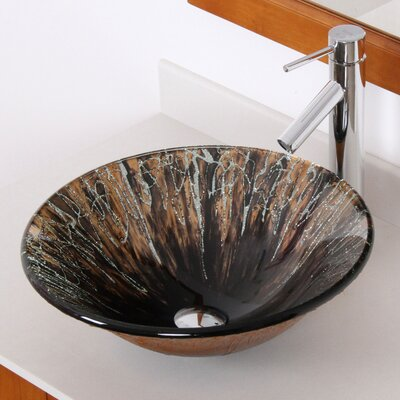Handcrafted Glass Fanfare Bowl Vessel Bathroom Sink - 1310+P01008C