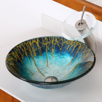 Enchantment Handcrafted Glass Fanfare Bowl Vessel Bathroom Sink - 1309+P01008BN