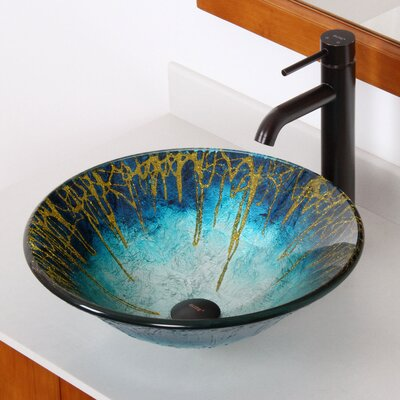 Enchantment Handcrafted Glass Fanfare Bowl Vessel Bathroom Sink - 1039+P01008ORB