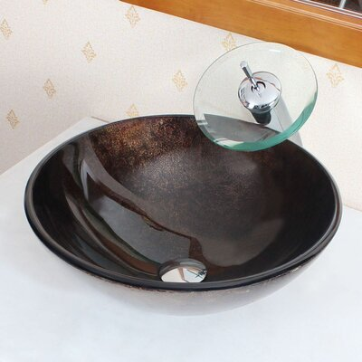 Foil Underside Handcrafted Glass Vessel Bathroom Sink - 1208+P01008C