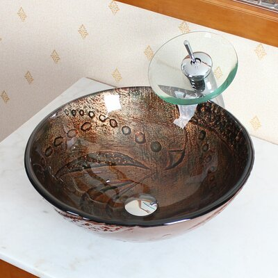 Hot Melted Rock Pattern Glass Bowl Vessel Bathroom Sink - 1211+P01008C