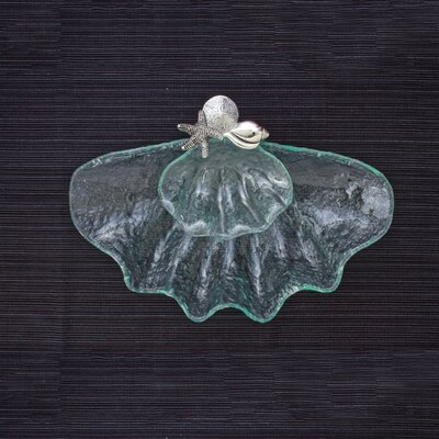 Thirstystone 2 Piece Glass Clam Shell Chip and Dip Serving Set