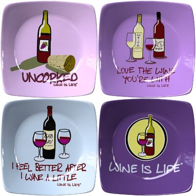 "Thirstystone 9.75"" Wine is Life Winners Appetizer 4 Piece Plate Set"