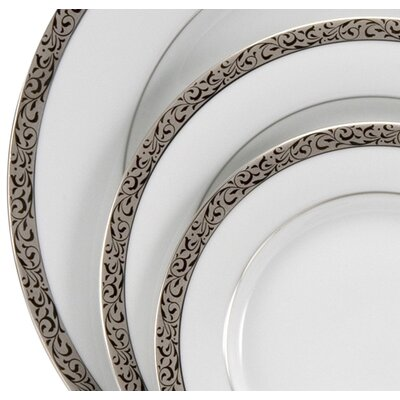 "Nikko Ceramics Sentiments Platinum Filigree 8"" Salad / Dessert Plate"