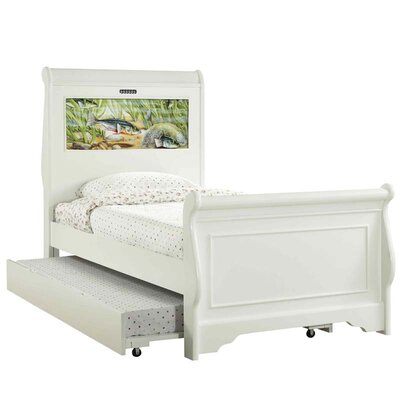 Edgewood Twin Sleigh Bed with Trundle, Fish and Dolphins Interchangeable HeadLightz