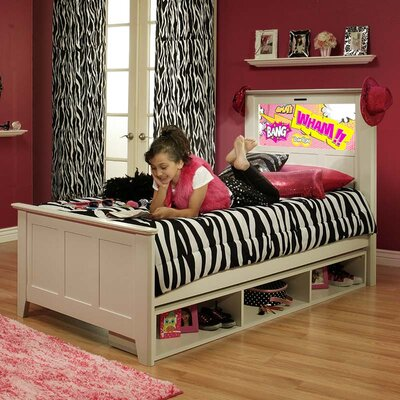 LightHeaded Beds Shaker Twin Panel Bed with Storage, Pop Art and Dolphins Interchangeable HeadLightz