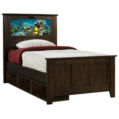 LightHeaded Beds Shaker Twin Panel Bed with Storage, Fish and Dolphins Interchangeable HeadLightz