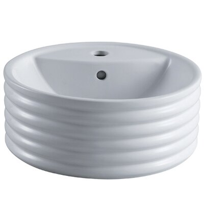 Tower White China Vessel Bathroom Sink with Overflow Hole and Faucet Hole - EV5212