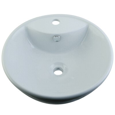 Simplicity White China Vessel Bathroom Sink with Overflow Hole and Faucet Hole - EV4074