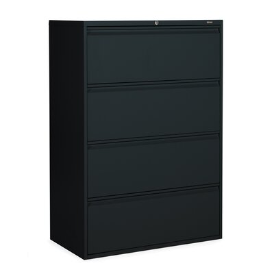 Global Total Office 1900P Series Four Drawer Lateral File in Black