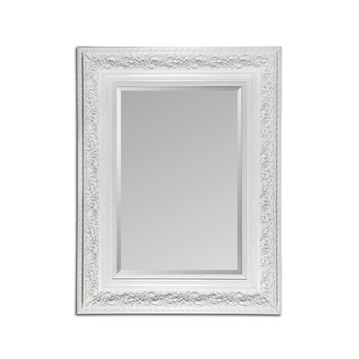 Beveled Wall Mirror in White Lacquer