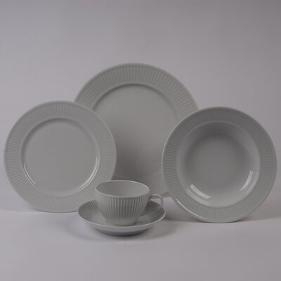 Pillivuyt Plisse 5 PC Dinnerware Set With Rimmed Bowl