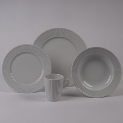 Pillivuyt Plisse 4 PC Dinnerware Set With Rimmed Bowl