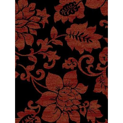 Royal Black/Dark Red Floral Rug